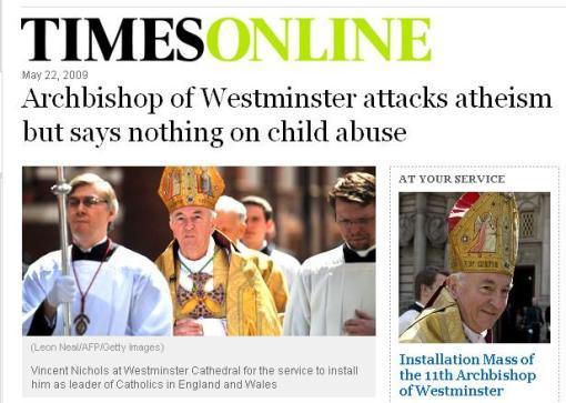 """""""Arcebispo de Westminster ataca ateísmo mas não diz nada sobre o abuso de crianças"""""""