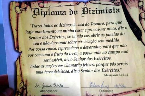 Diploma assinado por Jesus