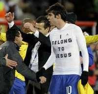 Camisa do Kaká na comemoração do título faz referência à fé religiosa do meia da seleção - Foto: Andre Penner/AP